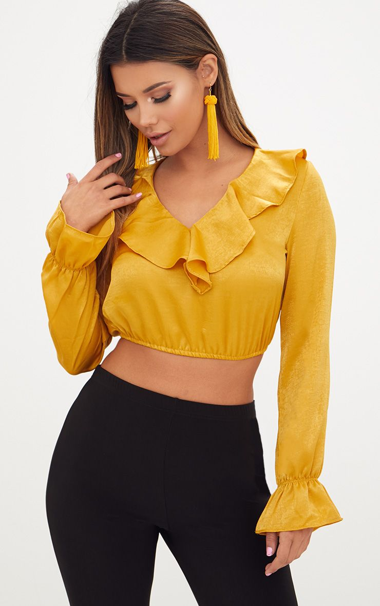 mustard satin frill longsleeve blouse