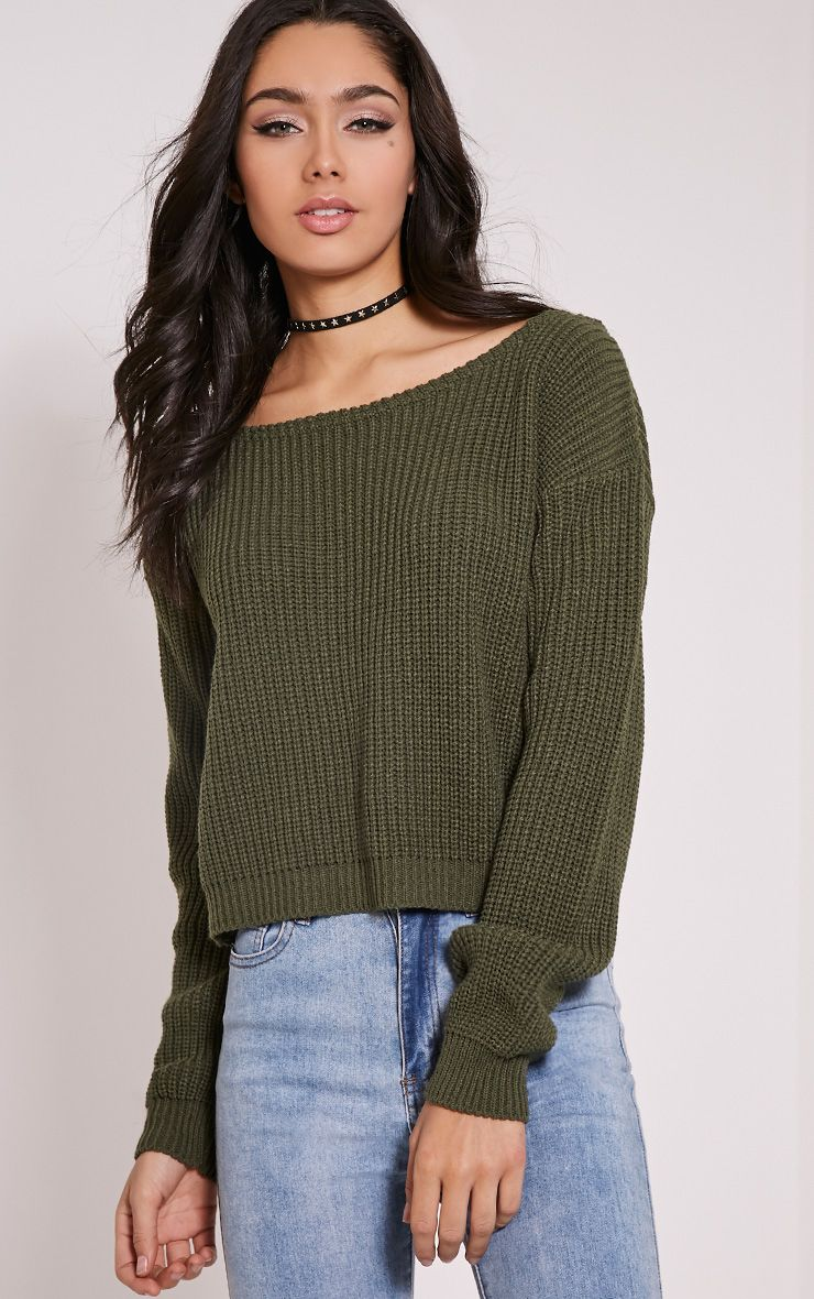 Rosalina Khaki Off The Shoulder Crop Jumper