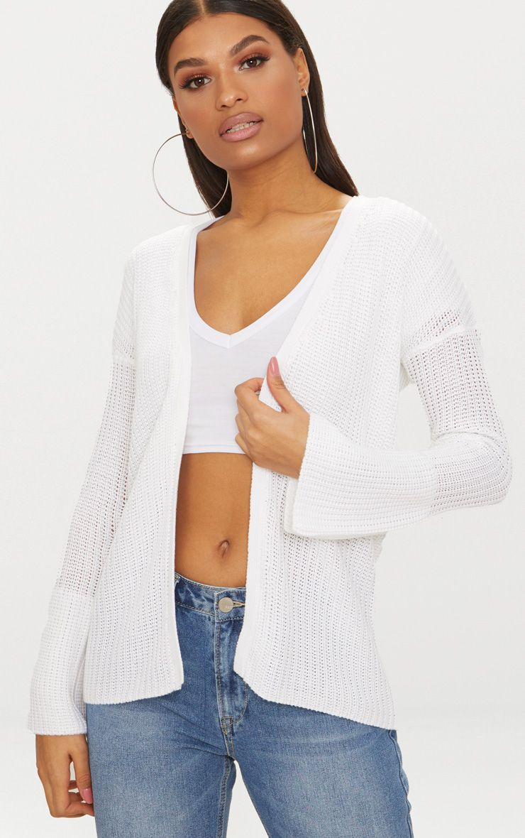 White Flared Sleeve Cardigan