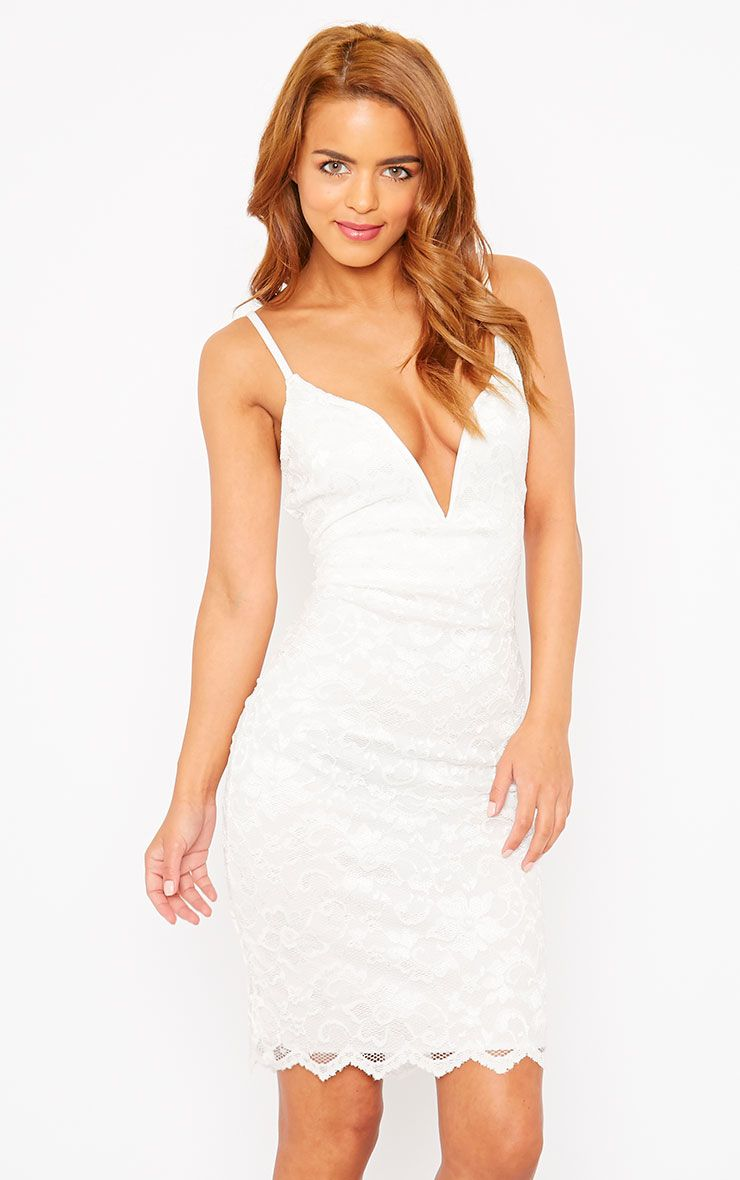 Casey Cream Scallop Lace Dress 1