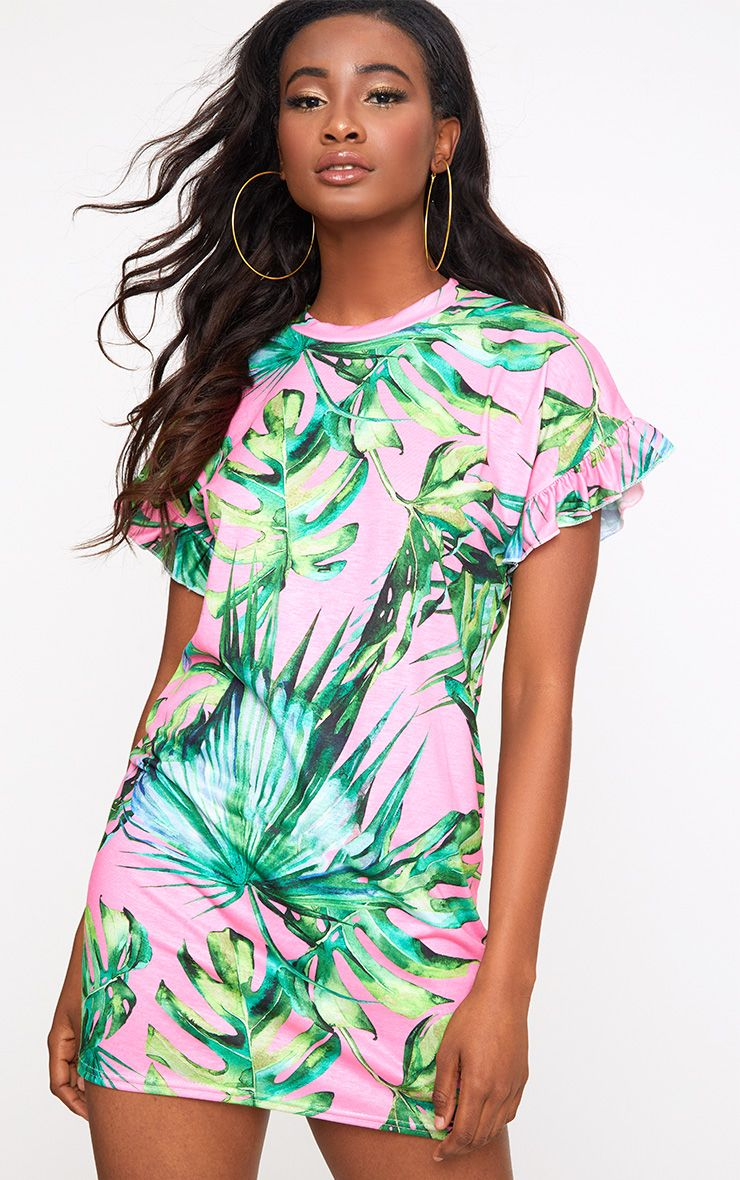Pink Tropical Frill Sleeve T Shirt Dress