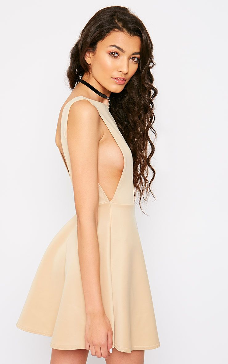 Ash Stone V Back Sucba Skater Dress 1