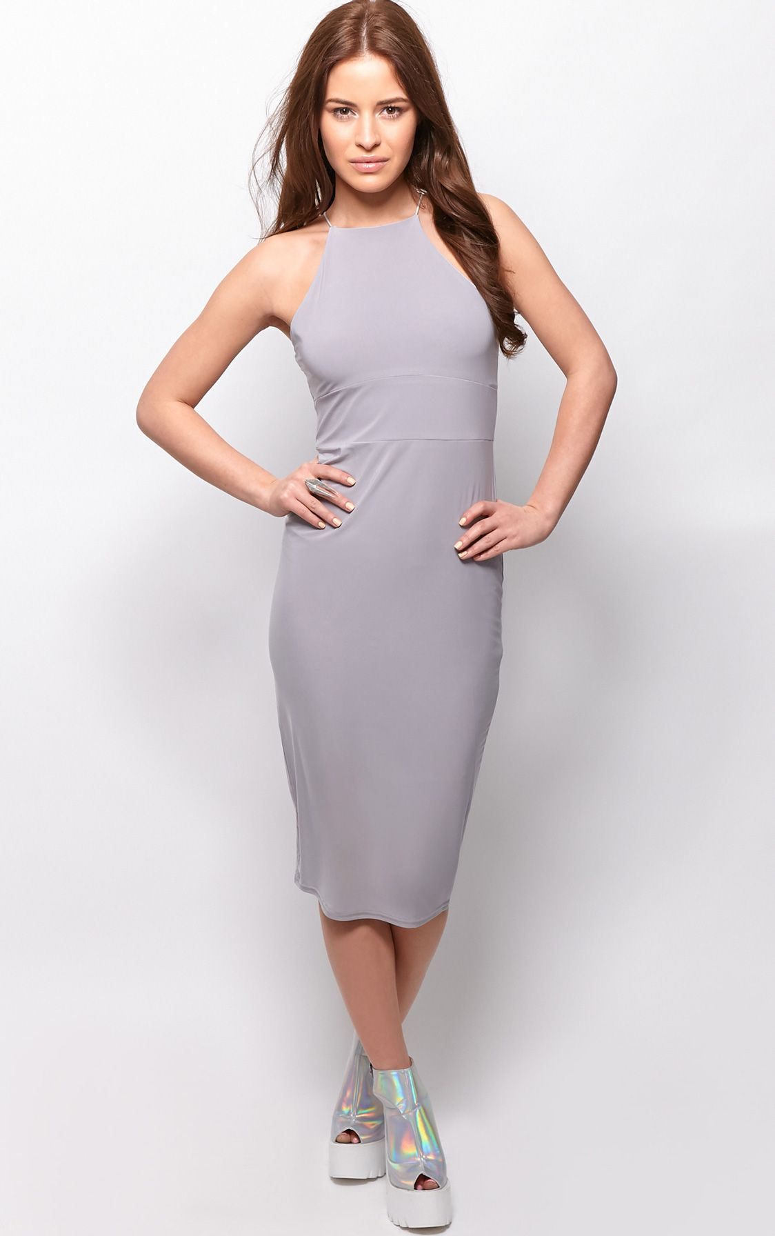 Michelle Grey Lurex Bodycon Dress 1