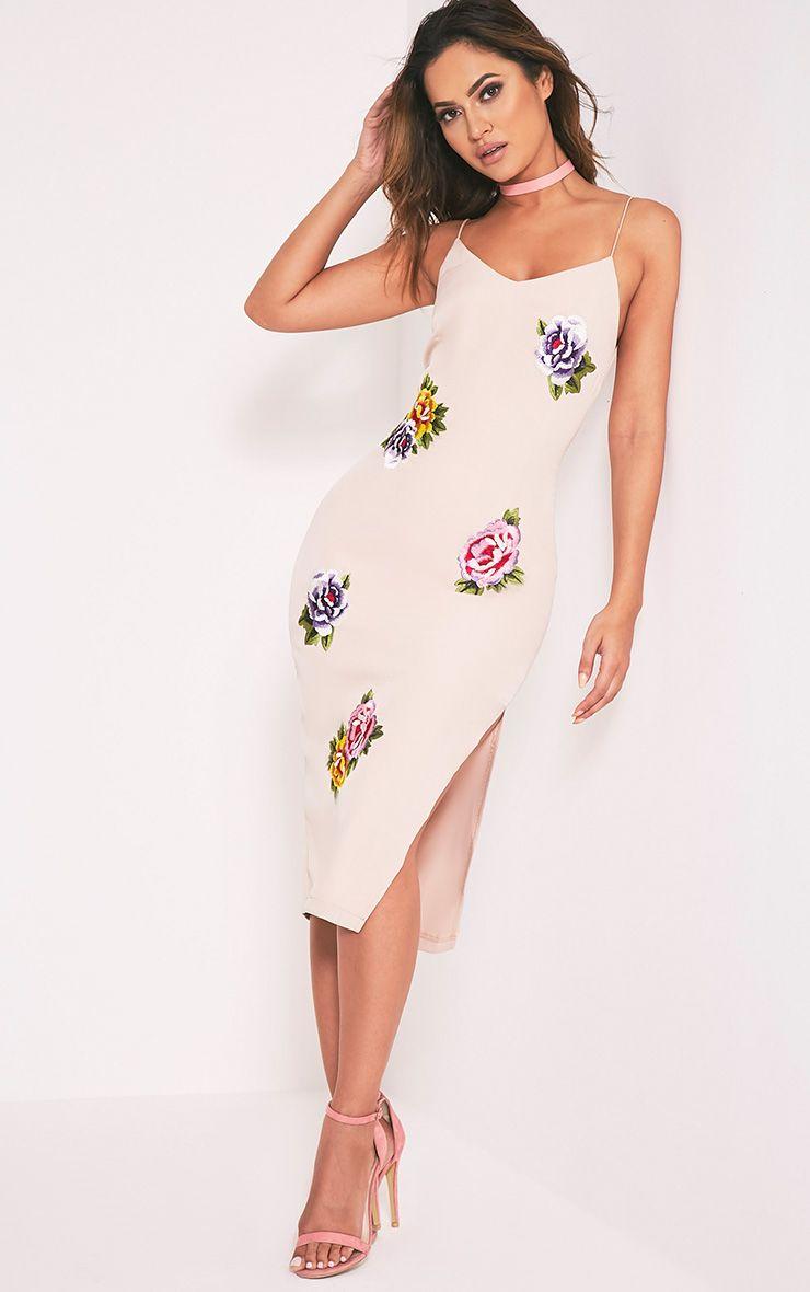 Fiana Nude Floral Embroidered Strappy Midi Dress 1