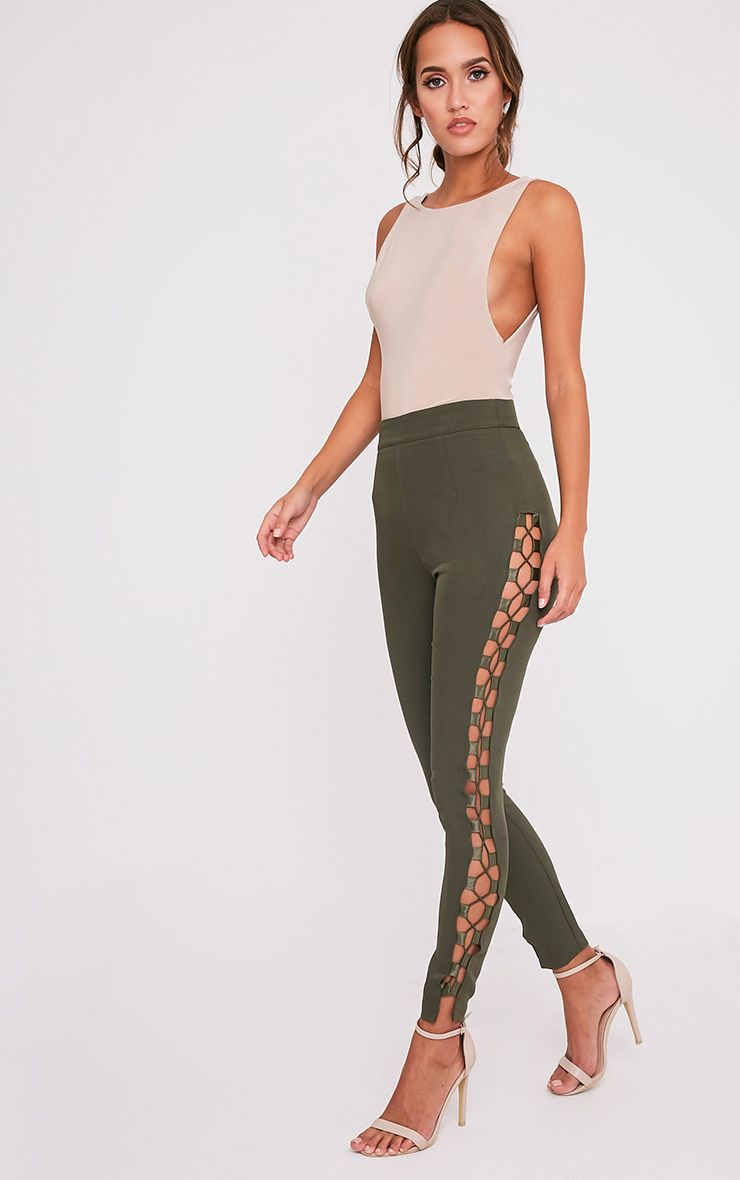 Anetta Khaki Lace Up Side Cigarette Trousers