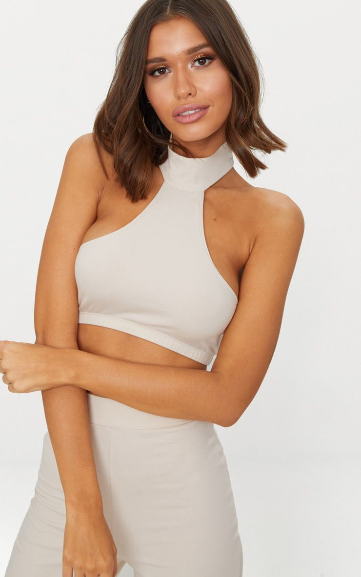 Cream Second Skin Halterneck Crop Top