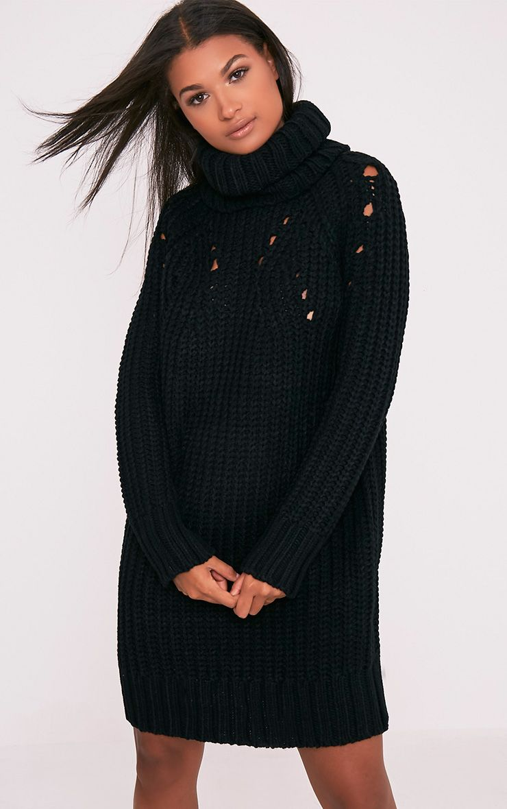 Product photo of Xael black knitted roll neck overesized dress black