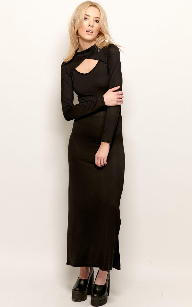 Saskia Black Long Sleeve Cut Out Maxi Dress 1
