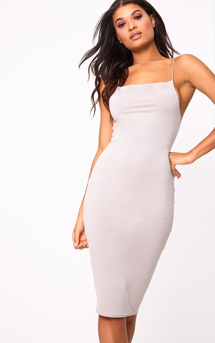 Grey Slinky Diamante Detail Midi Dress