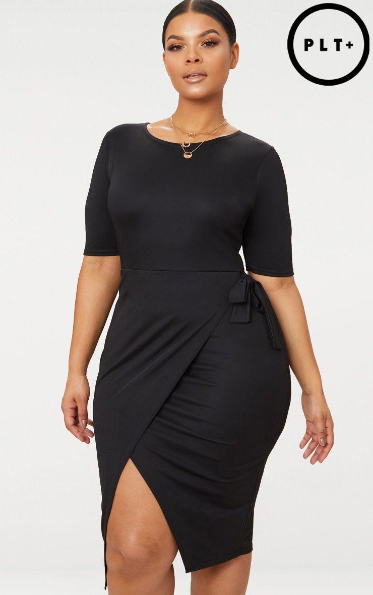 Plus Black Tie Detail Midi Dress