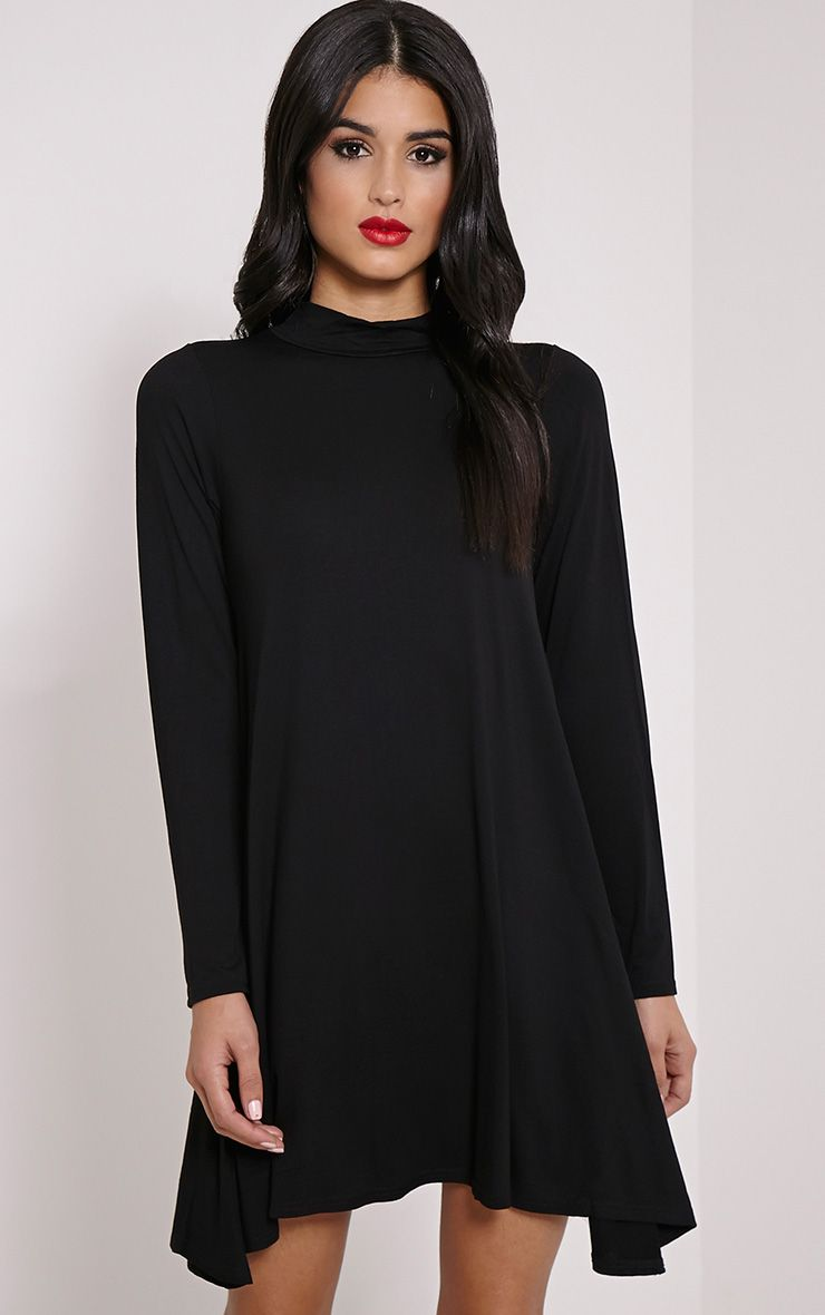 Basic Black Long Sleeved Jersey Swing Dress