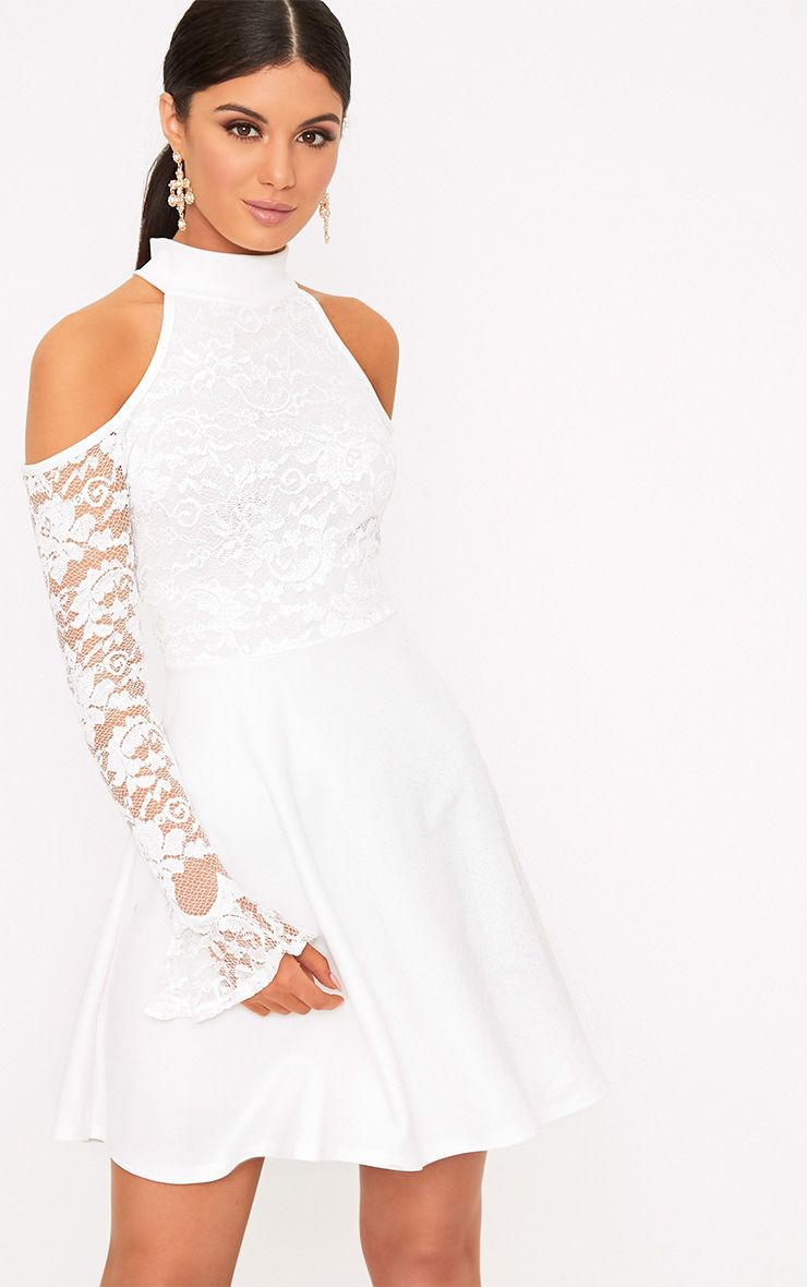 Belindia White Lace Cold Shoulder Skater Dress