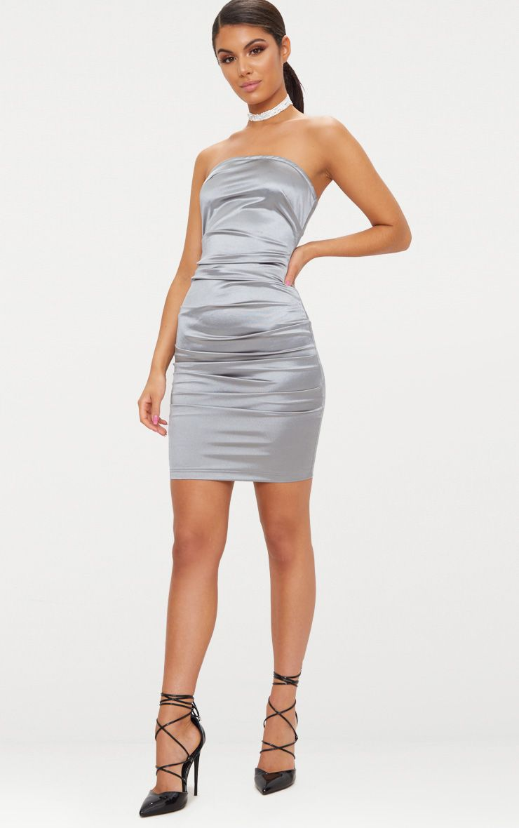 Factory ruched satin dress side bandeau bodycon pink baby online philippines