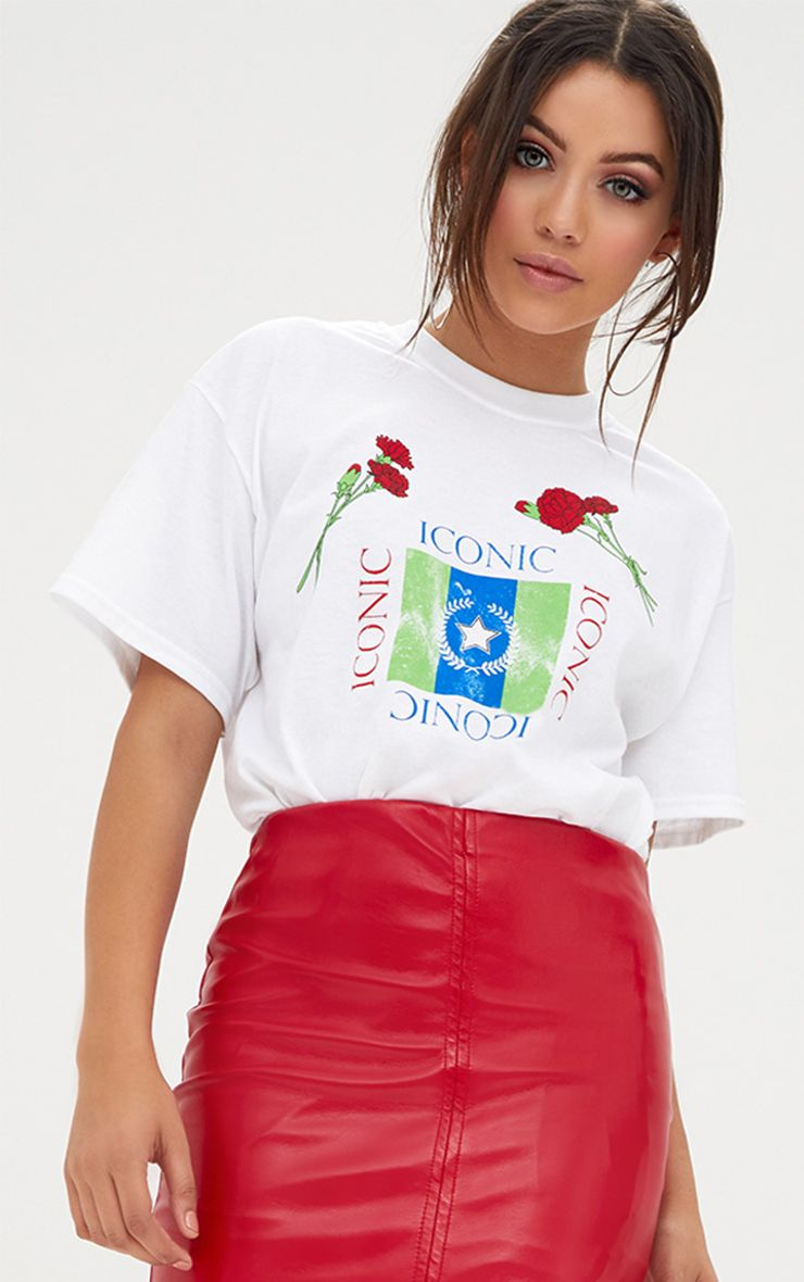 White Iconic Rose Slogan T Shirt