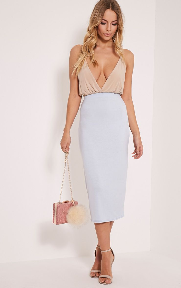 Basic Blue Longline Midi Skirt 1