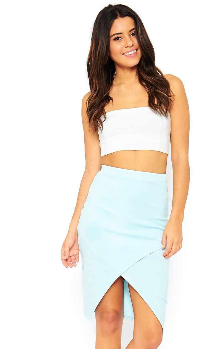 Melrose Powder Blue Scuba Midi Skirt 1