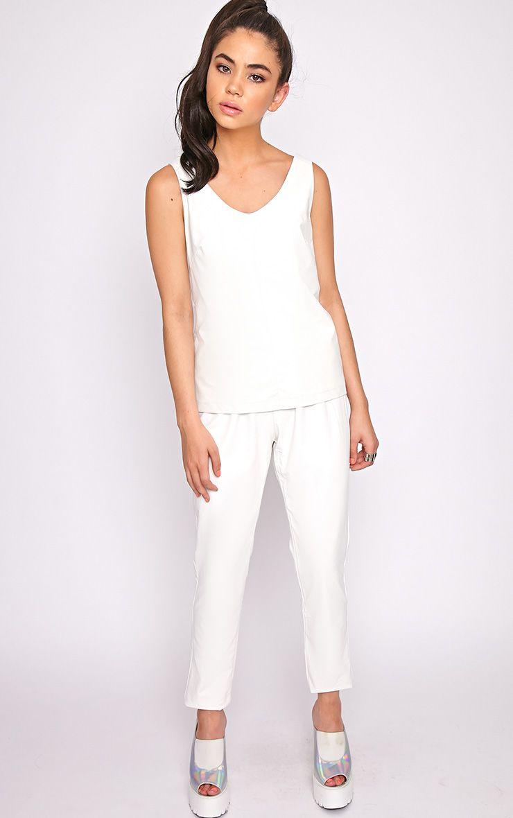 Addison White Leather Jogger 1