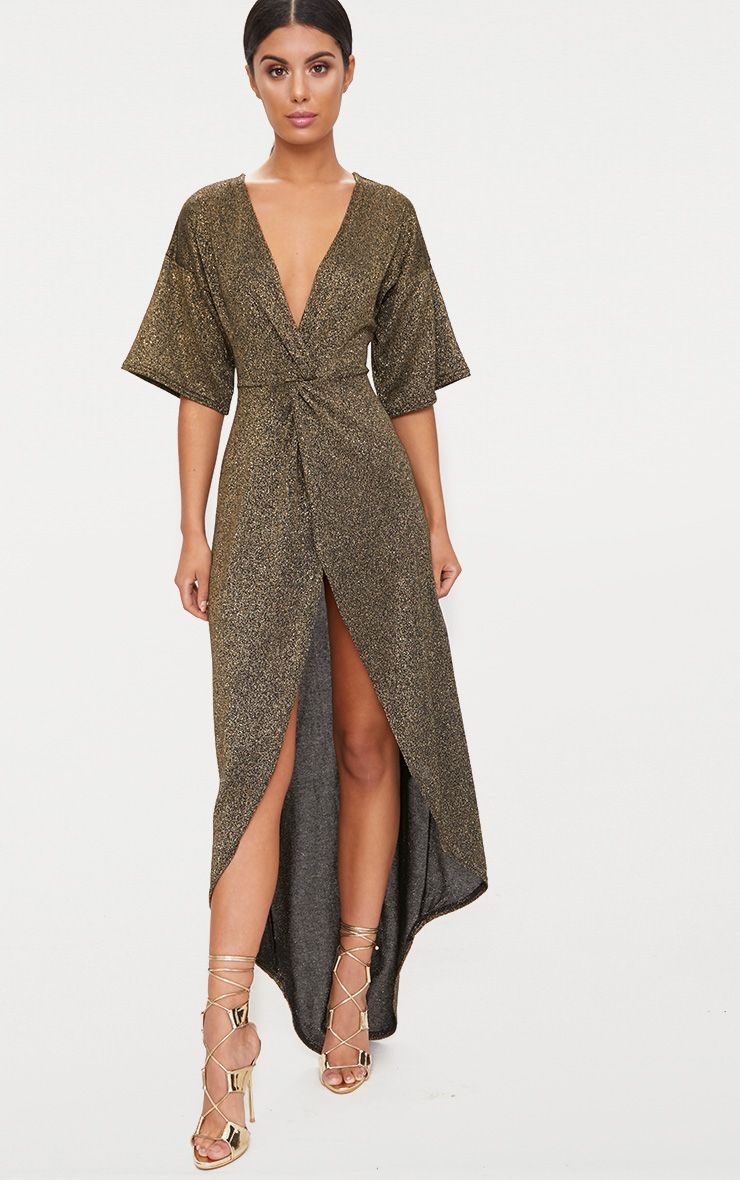 Gold Plunge Knot Detail Batwing Sleeve Extreme Split Maxi Dress