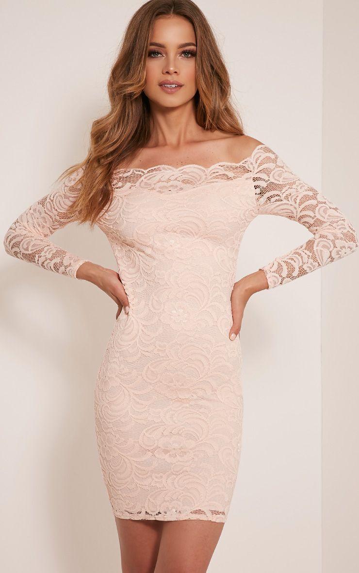 Alice Nude Bardot Lace Midi Dress 1