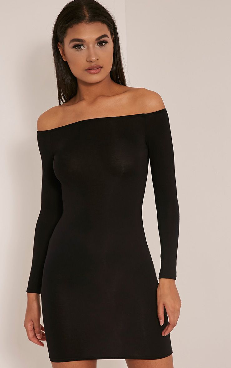 Basic Black Bardot Bodycon Dress