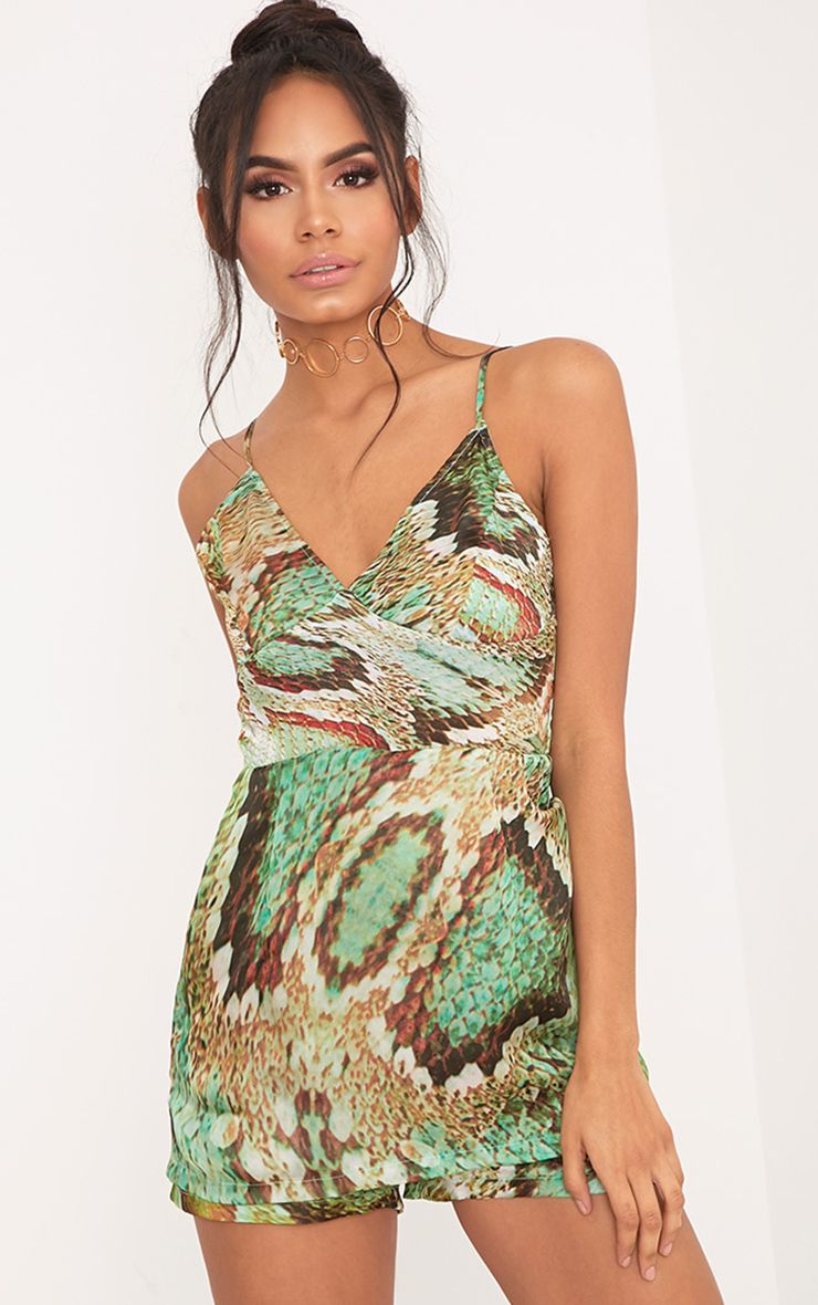 Kyla Green Snake Print Skort Satin Playsuit