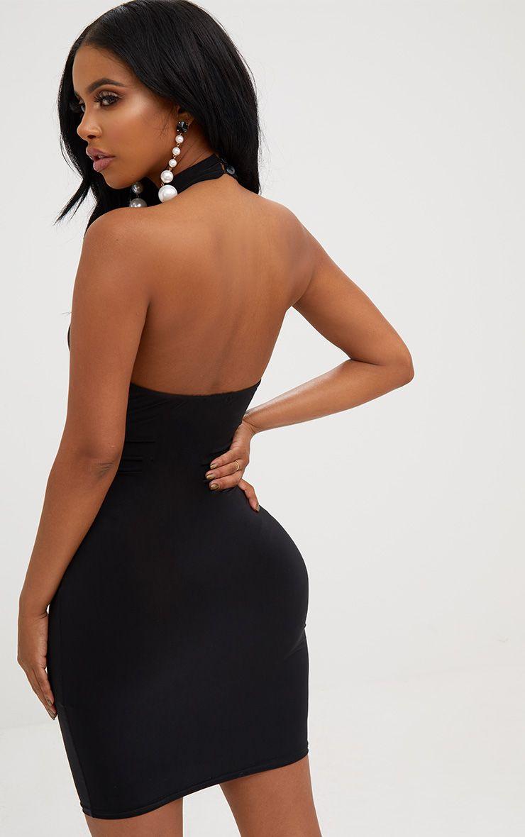 Shape Black Lace Trim Plunge Choker Dress Pretty Little Thing GlMUHYfp07