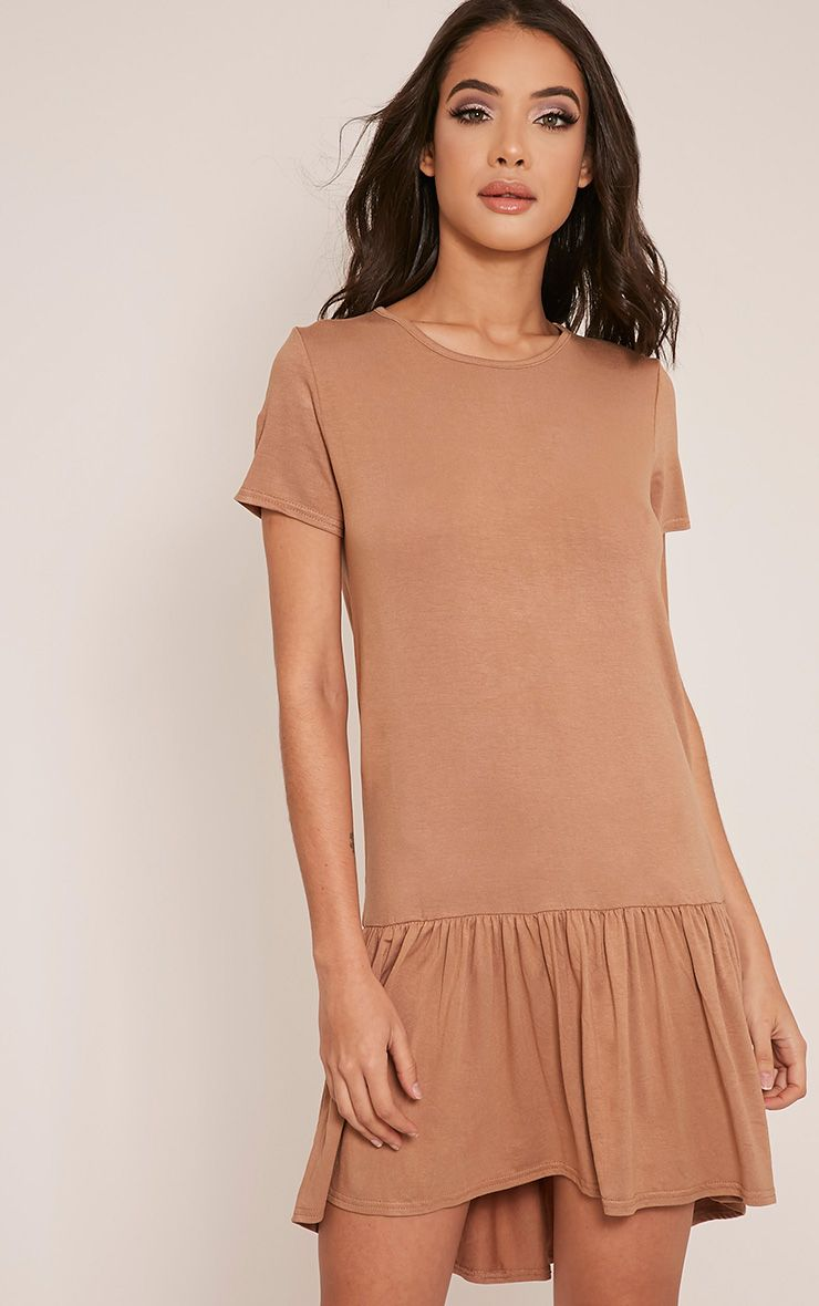 Tania Camel Drop Hem T shirt Dress 1