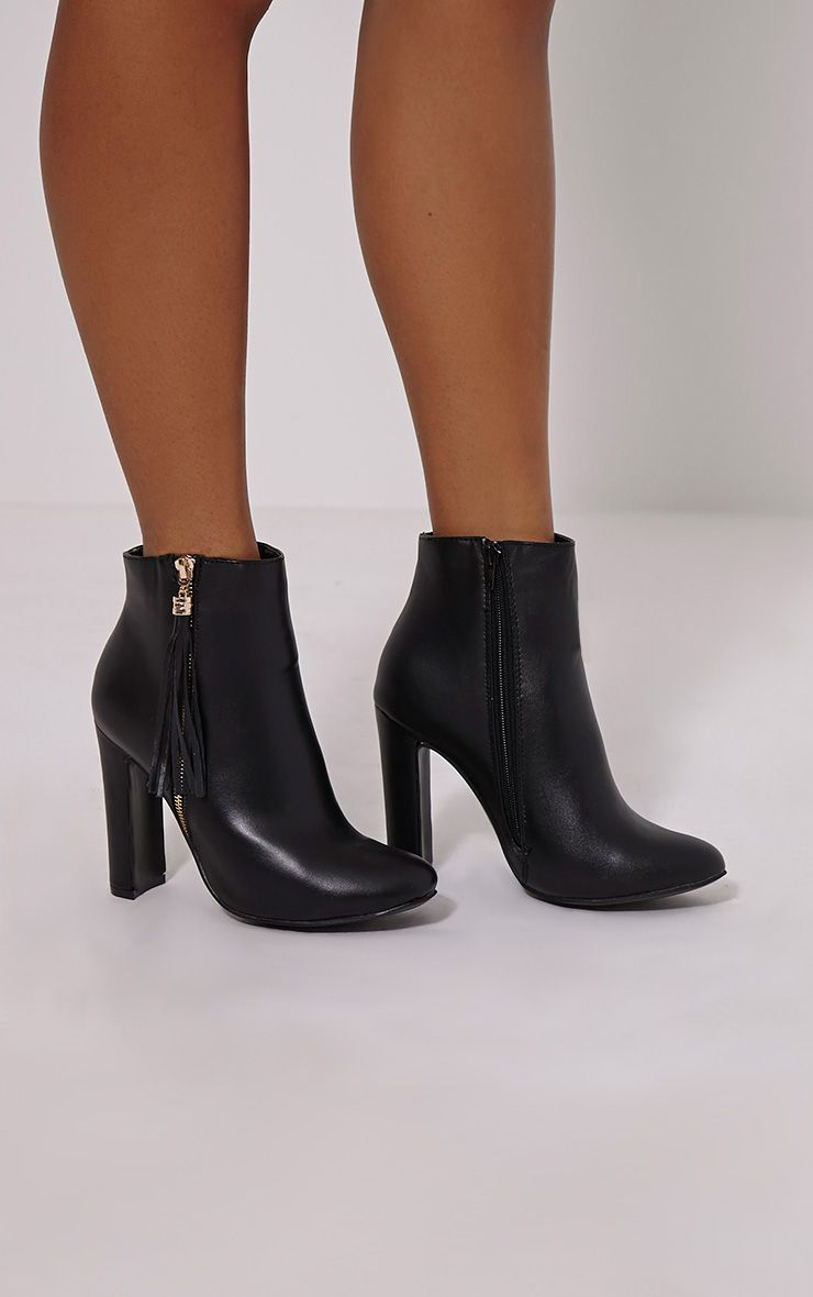 Lizzy Black Fringe Faux Leather Heeled Boots 1
