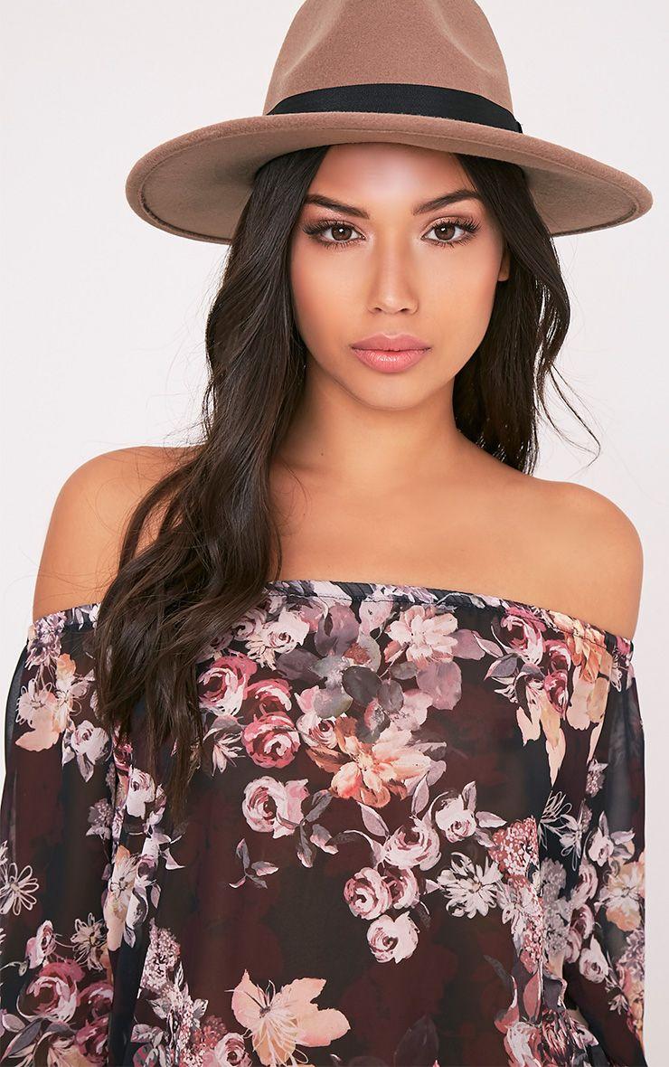 Kynia Camel Wide Fedora Hat