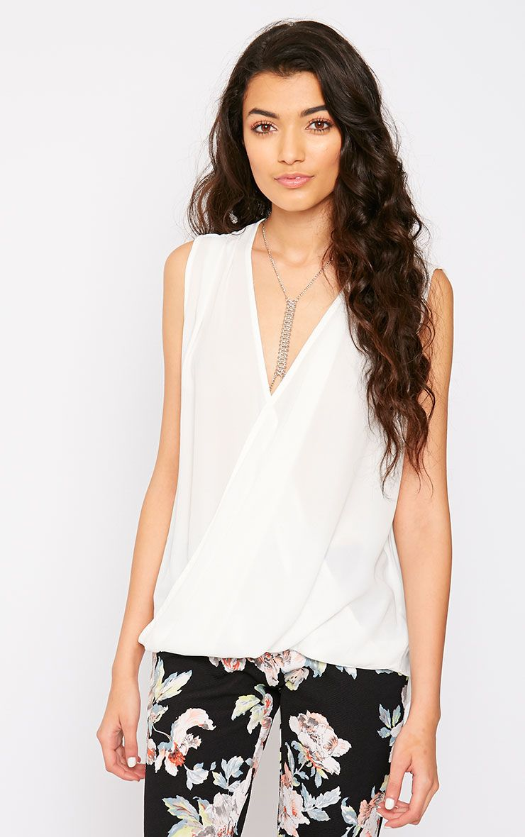 Maddox White Wrap Chiffon Top 1