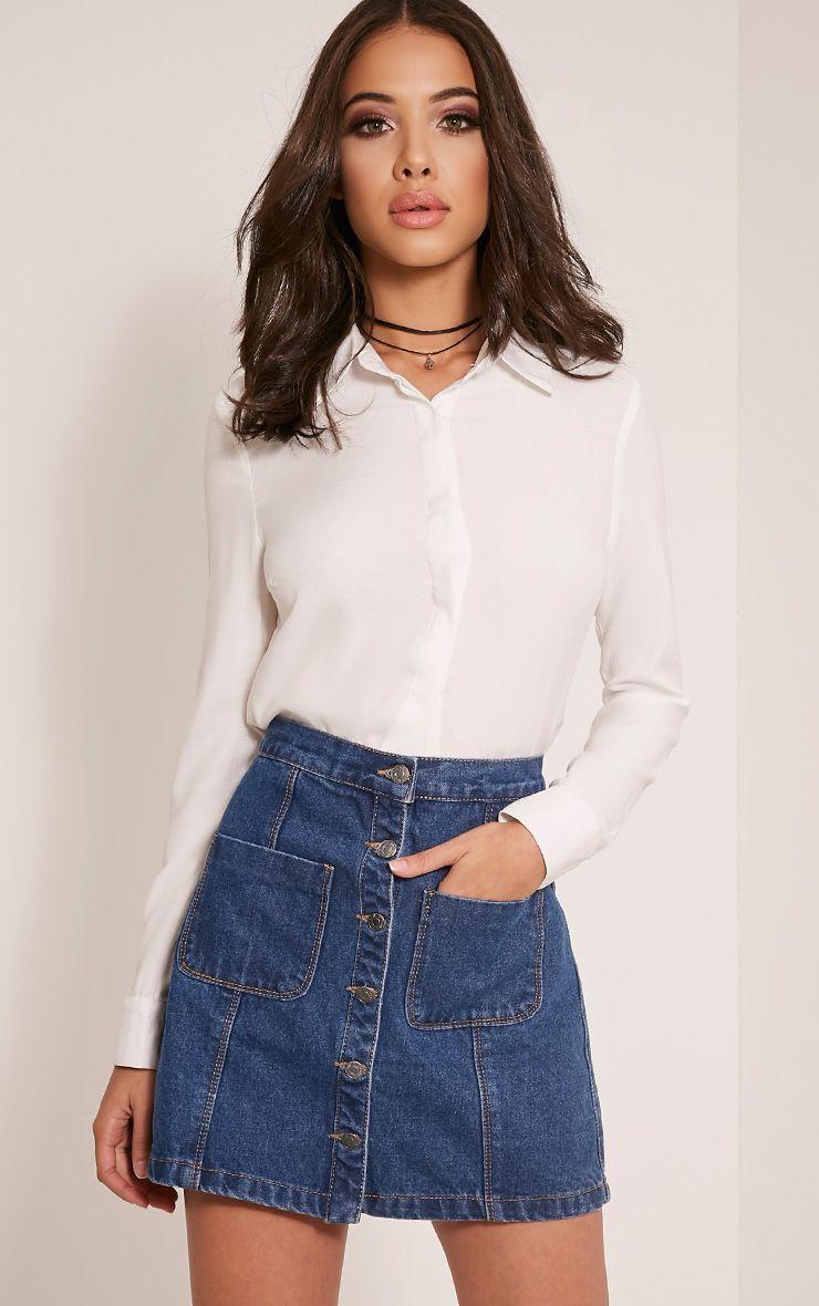 Thalia Dark Wash Pocket Front Denim Mini Skirt 1