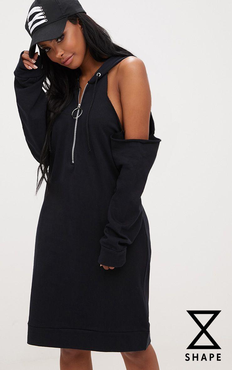 Shape Black Cold Shoulder O Ring Jumper Dress