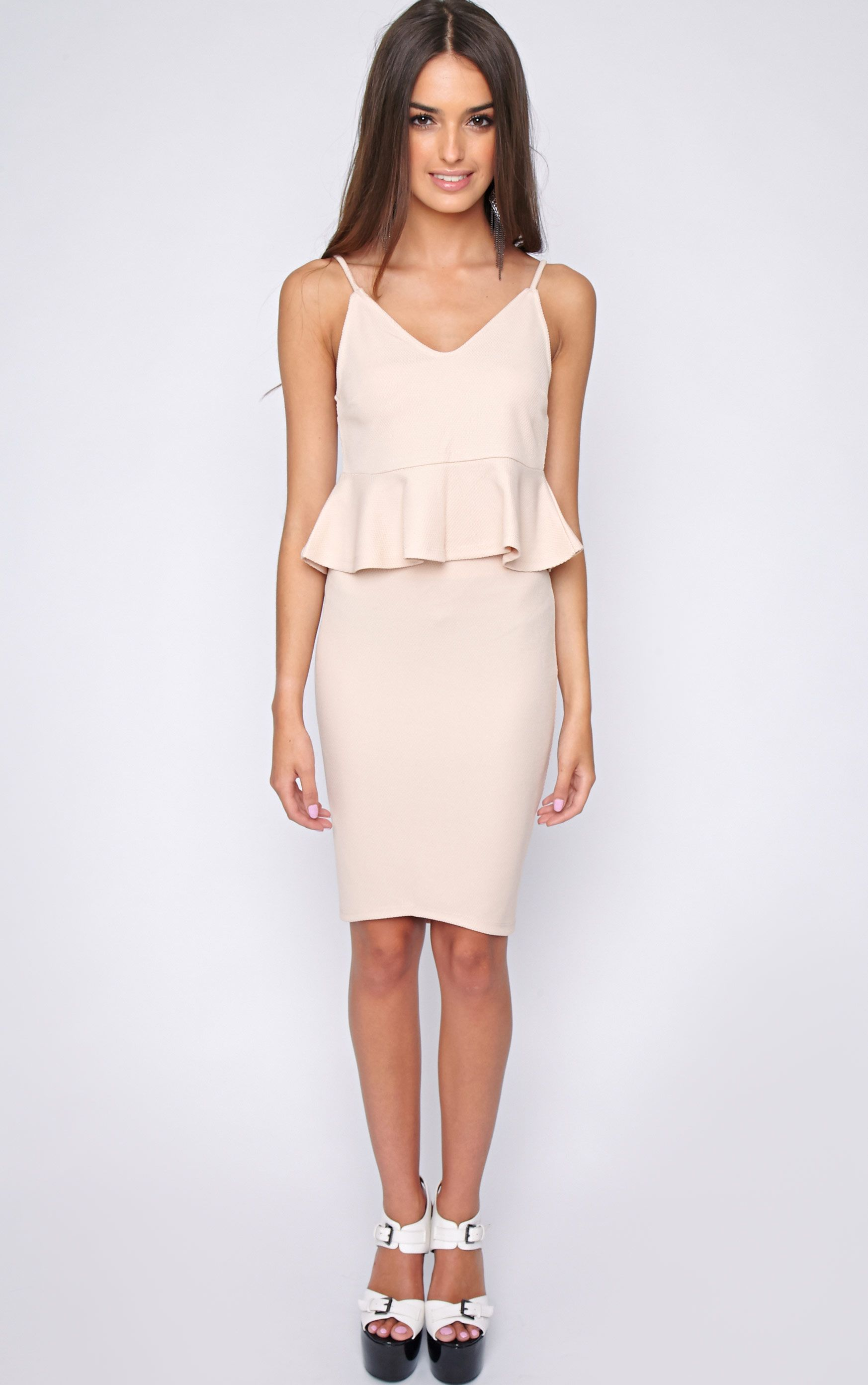 Zola Nude Textured Drop Hem Midi Skirt  1