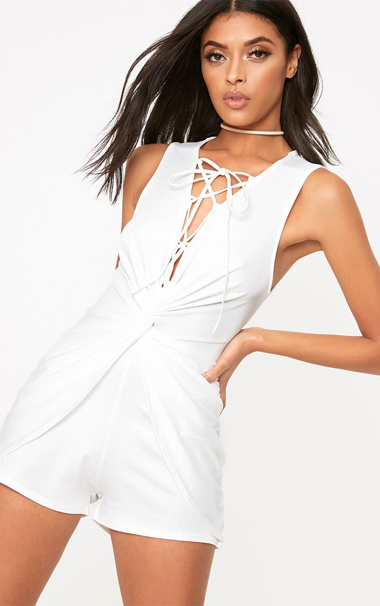 White Knot Front Lace Up Playsuit