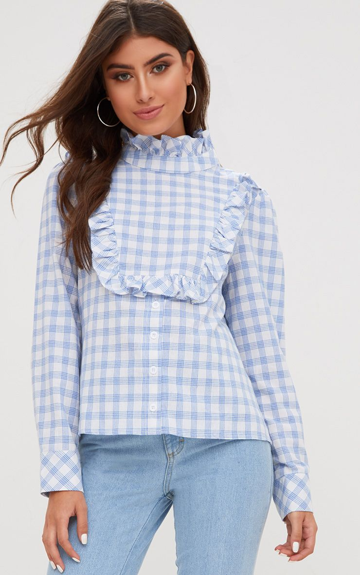 Navy Check Frill Neck Shirt