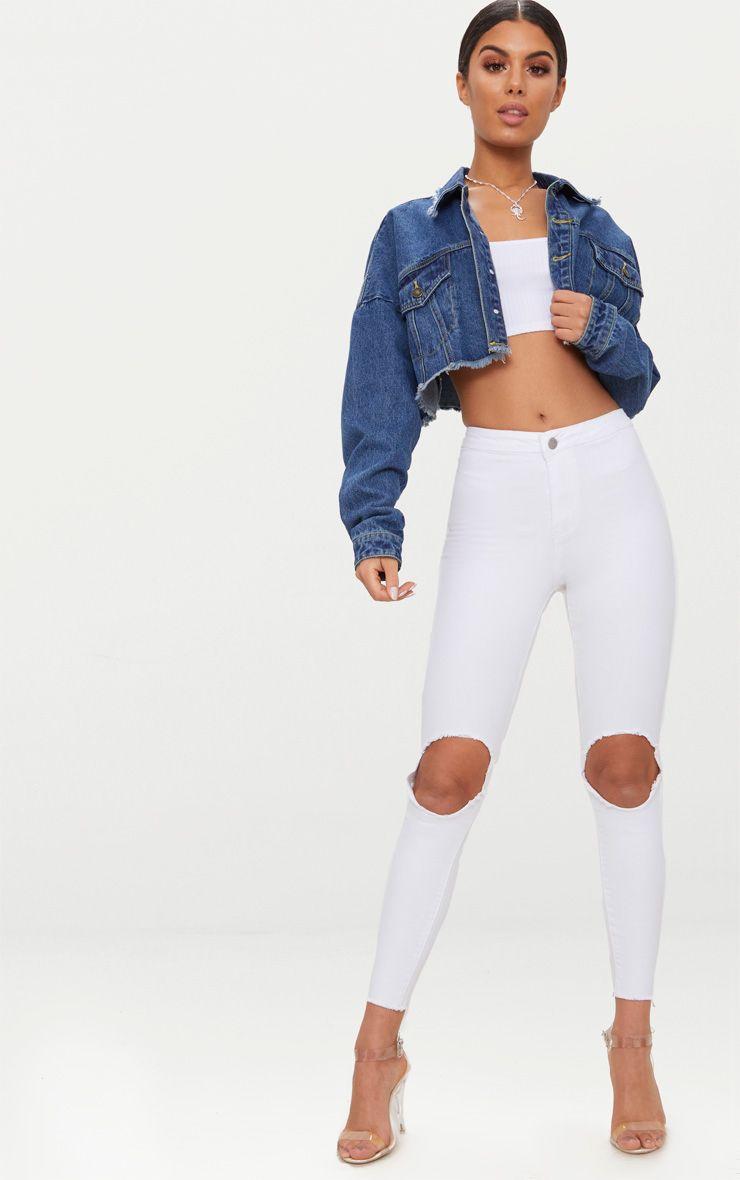 White Disco Open Knee Skinny Jean