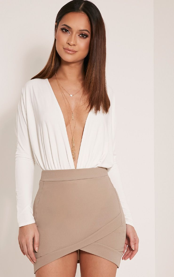Gabriella Taupe Asymmetric Mini Skirt
