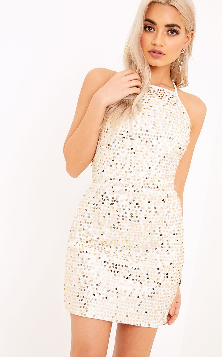 Kerstin Gold Halterneck Sequin Shift Dress