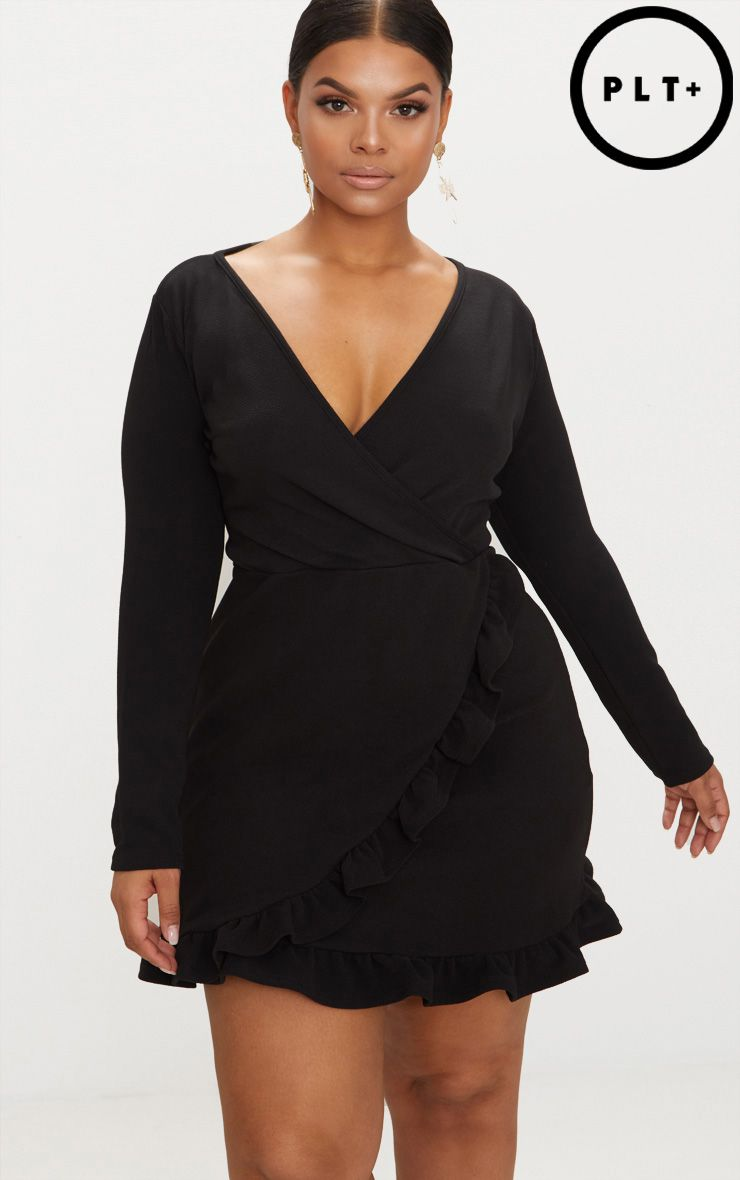 PRETTYLITTLETHING Plus Long Sleeve Ruffle Wrap Dress Good Selling Amazing Price Cheap Price COzCVTF