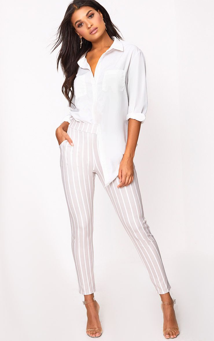 Stone Stripe Skinny Trousers