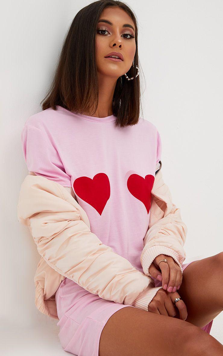 Pink Heart Printed T Shirt Dress