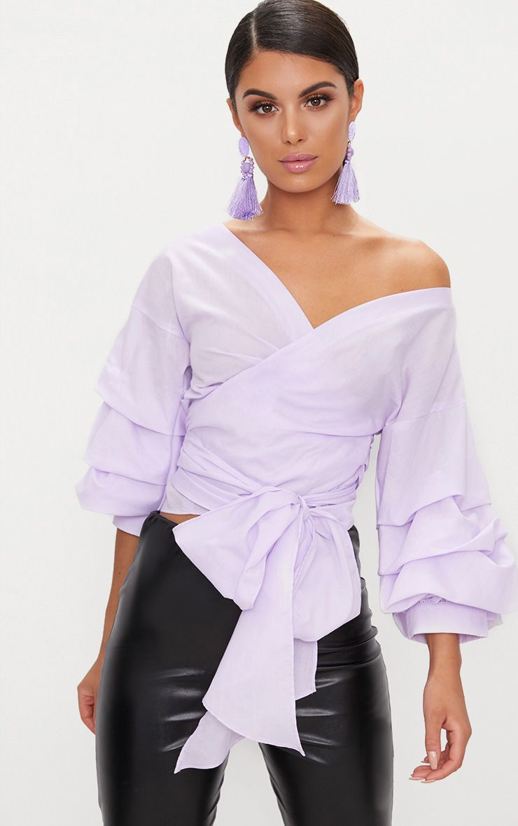 Lilac Marlow Oversized Ruffle Wrap Shirt