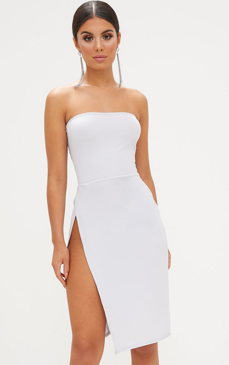 Ice Grey Extreme Split Bandeau Midi Dress