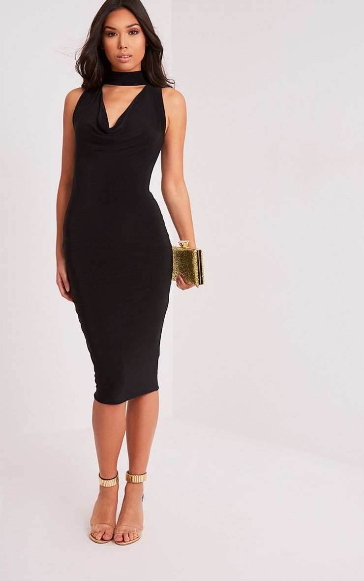 Nayasha Black Slinky Choker Wrap Midi Dress