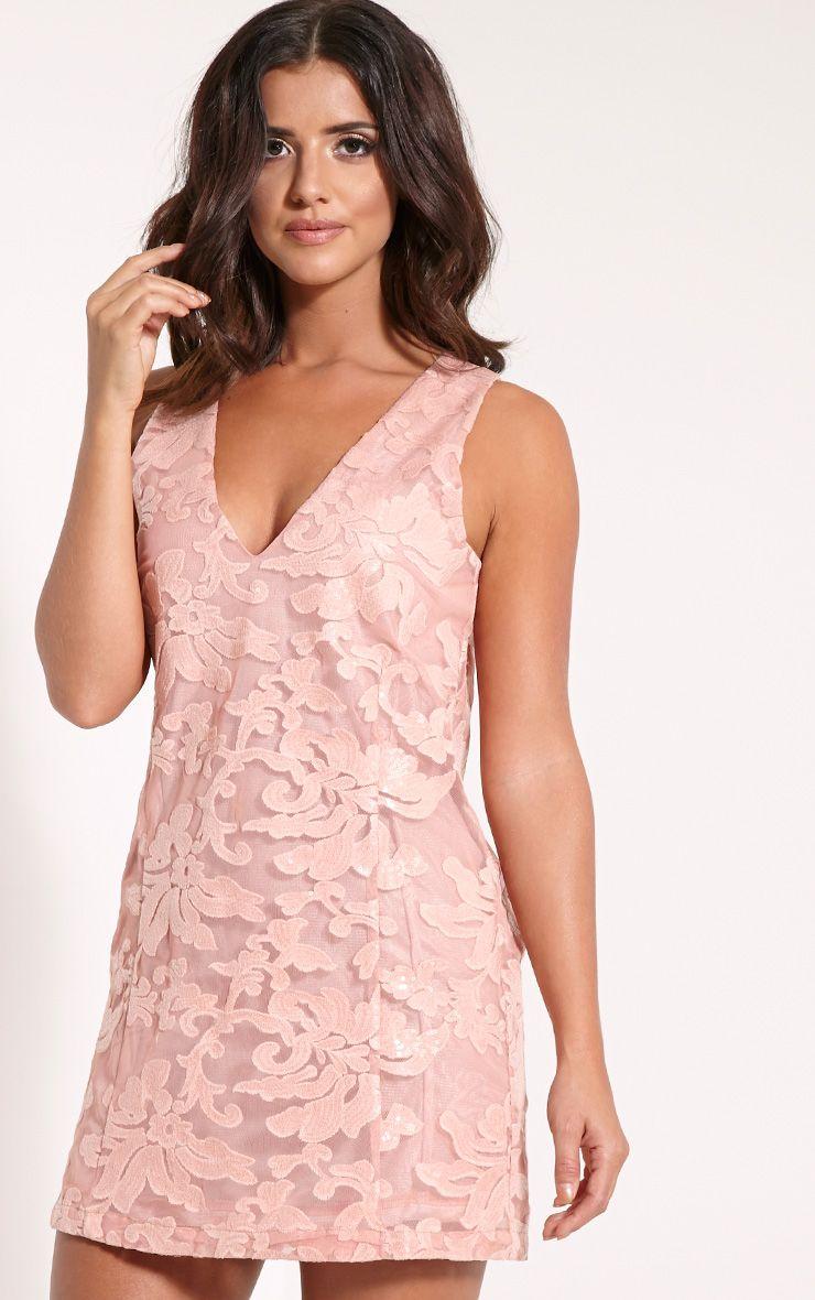 Mindie Peach Sequin Shift Mini Dress 1