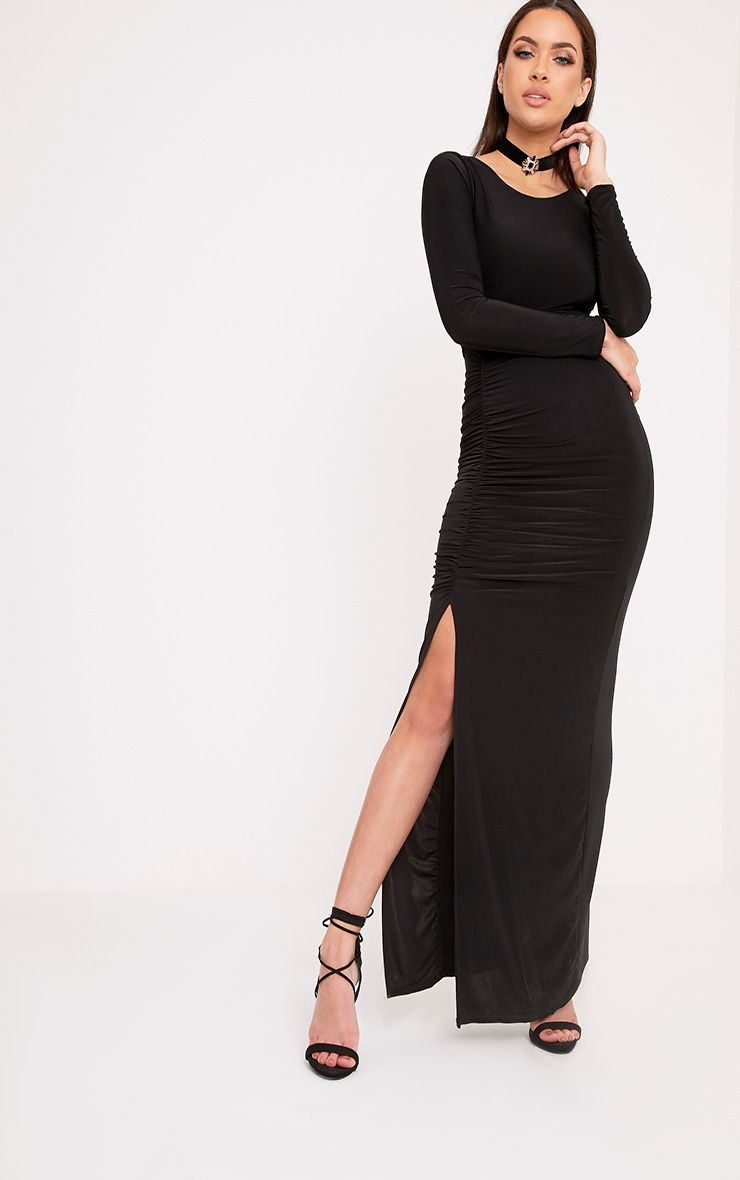 Amabel Black Ruched Side Split Maxi Dress