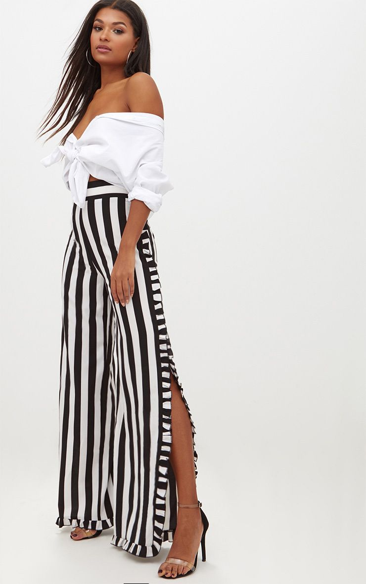 Monochrome Humbug Stripe Frill Split Trousers