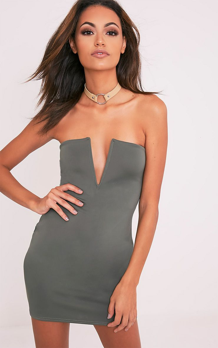 Sofia Khaki V Plunge Bandeau Bodycon Dress