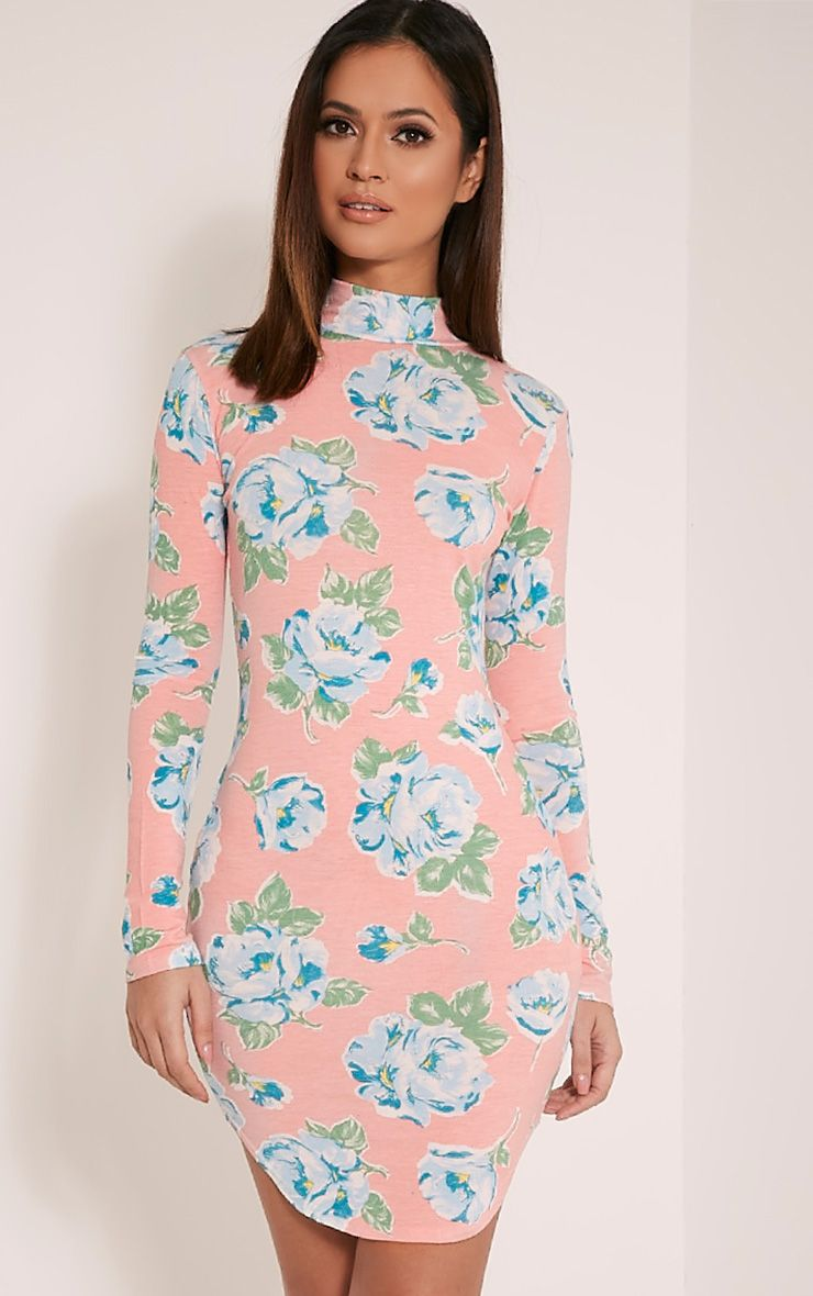 Alby Peach Floral Print Curve Hem High Neck Dress