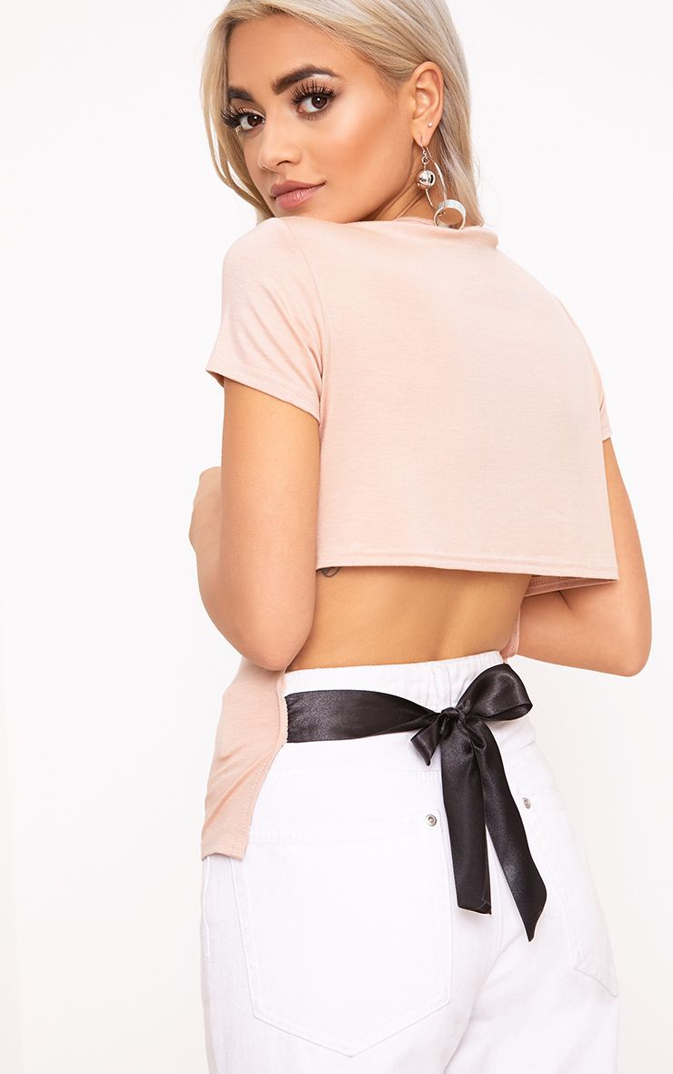 Nude Ribbon Tie Back T Shirt